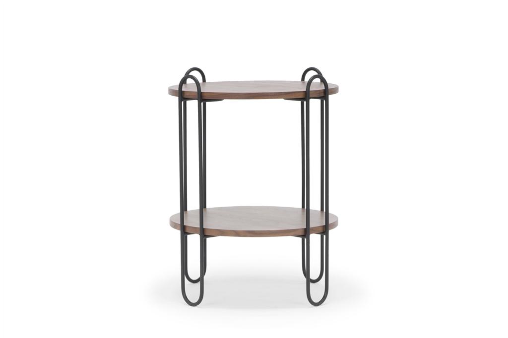 arc-1027-side-table-45x45x60cm-matt-black-steel-legs-two-top-walnut-front