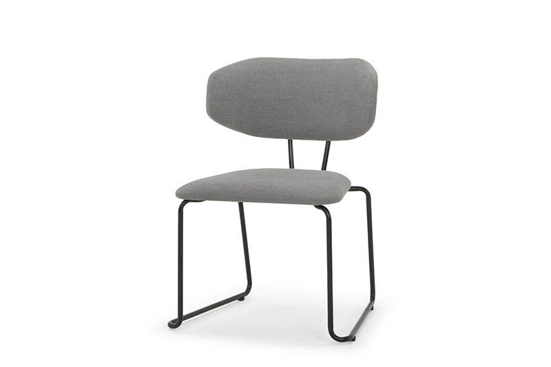 ARC 1042 - Dining Chair, Diego 013 Steel Grey, Matt Black Steel Frame & Legs, Angle