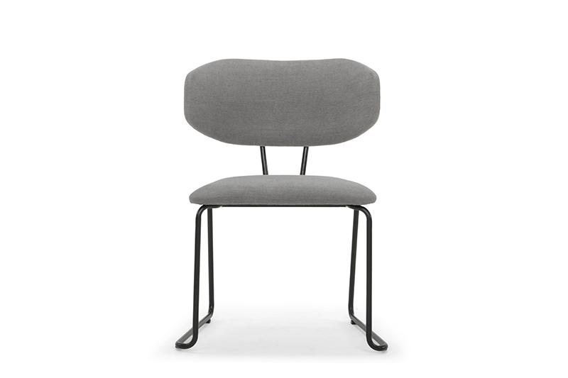 ARC 1042 - Dining Chair, Diego 013 Steel Grey, Matt Black Steel Frame & Legs, Front