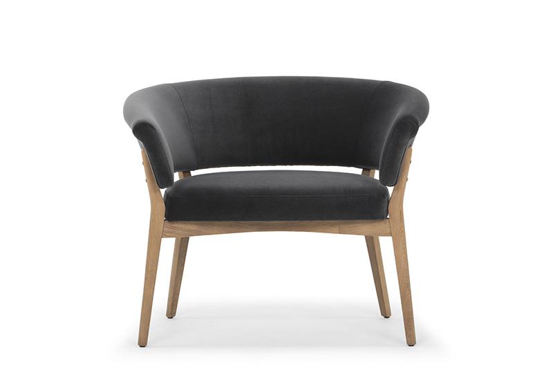 ARC 1548 - 1S, Sapphire 801 Dark Grey, Natural Oak Frame & Legs, Front