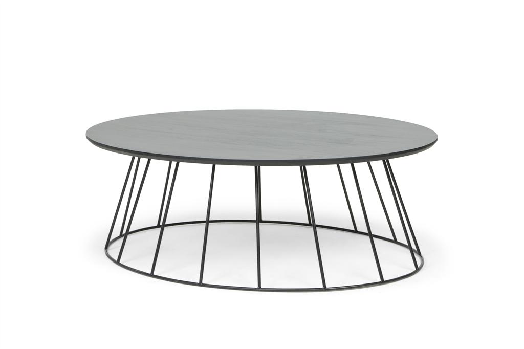 ARC 1216 - Oval Table 90x120x38, Matt Black Steel Legs, Black Table Top, Angle