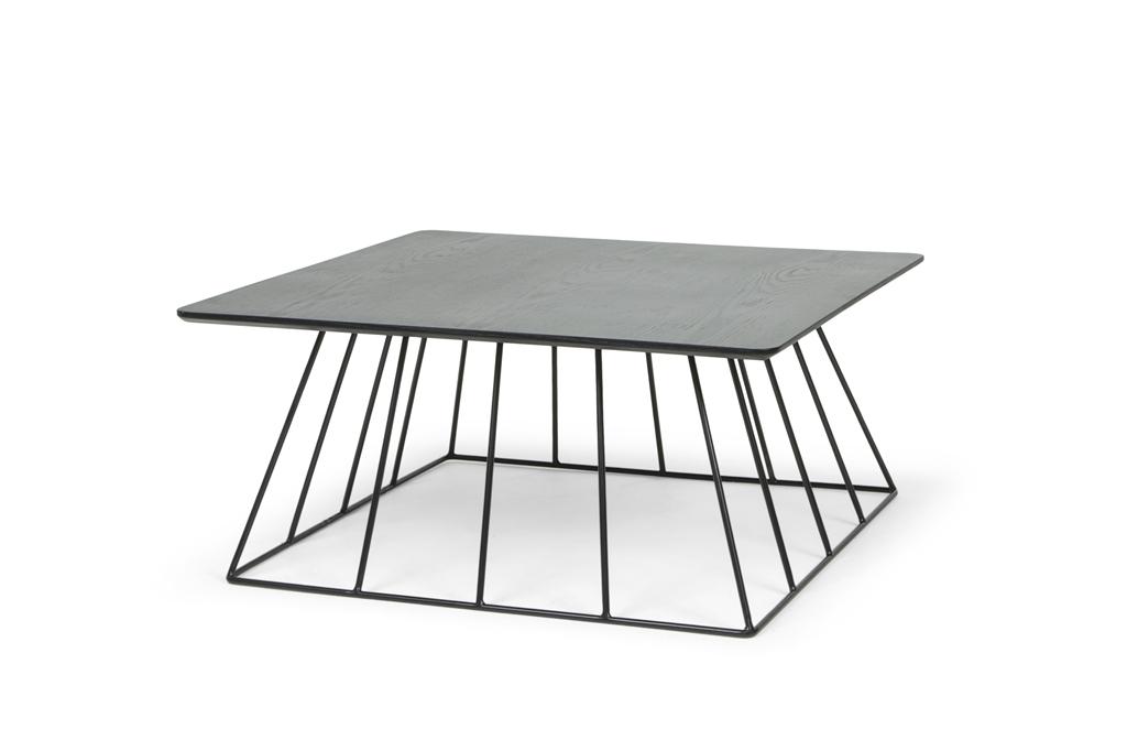 ARC 1216 - Square Table 90x90x40, Matt Black Steel Legs, Black Table Top, Angle