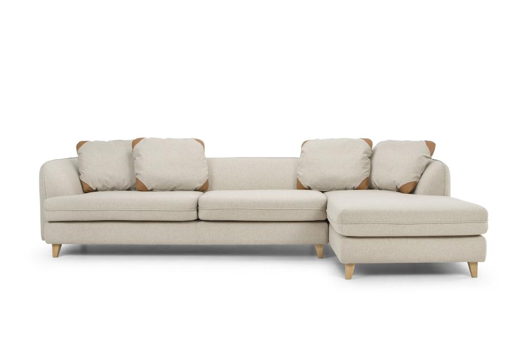 ARC 1303 - Corner Open End Right,  Stella 04 Beige, Zenith 9029 Marro, Small Back Cushions, Natural Oak Legs, Front