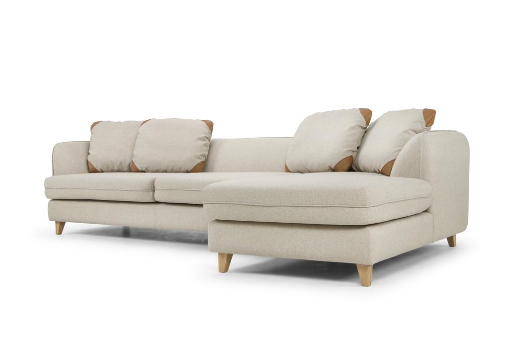 ARC 1303 - Corner Open End Right,  Stella 04 Beige, Zenith 9029 Marro, Small Back Cushions, Natural Oak Legs, Low Angle