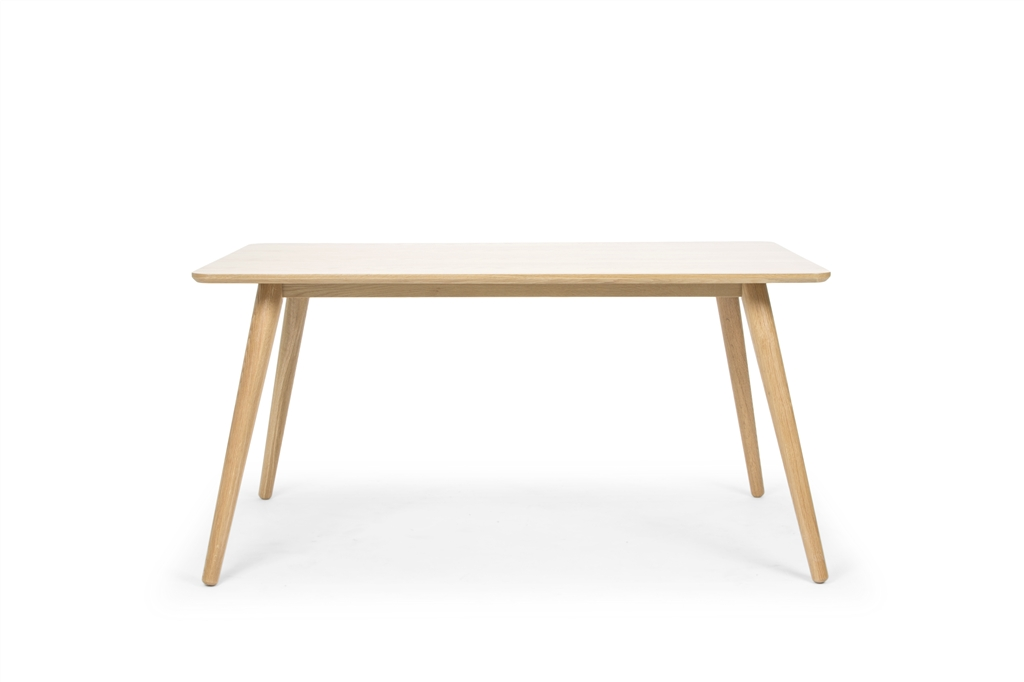Retro Dining Meeting Rectangle Table, Natural Oak Legs, Front