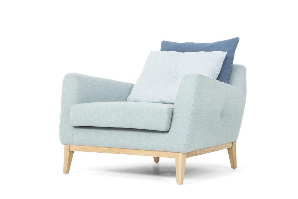 ARC 1134 - 1S, Ludo 520 Light Blue, Scatter Cushions, Oak Legs, Low Angle