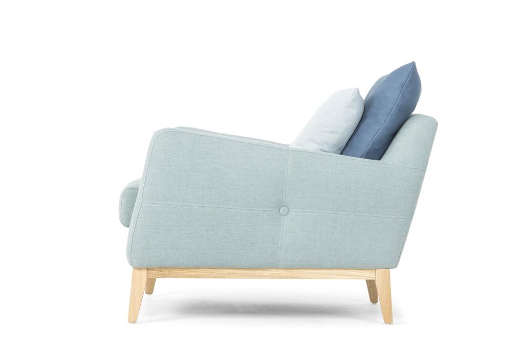ARC 1134 - 1S, Ludo 520 Light Blue, Scatter Cushions, Oak Legs, Side