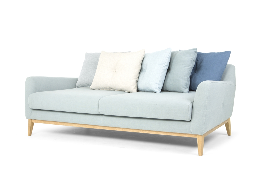 Light Blue, Cushion in Diego Petrol - Duck Egg Blue, Flair Blue Grey -  Beige, Ludo Light Blue, Oak Legs, Angle