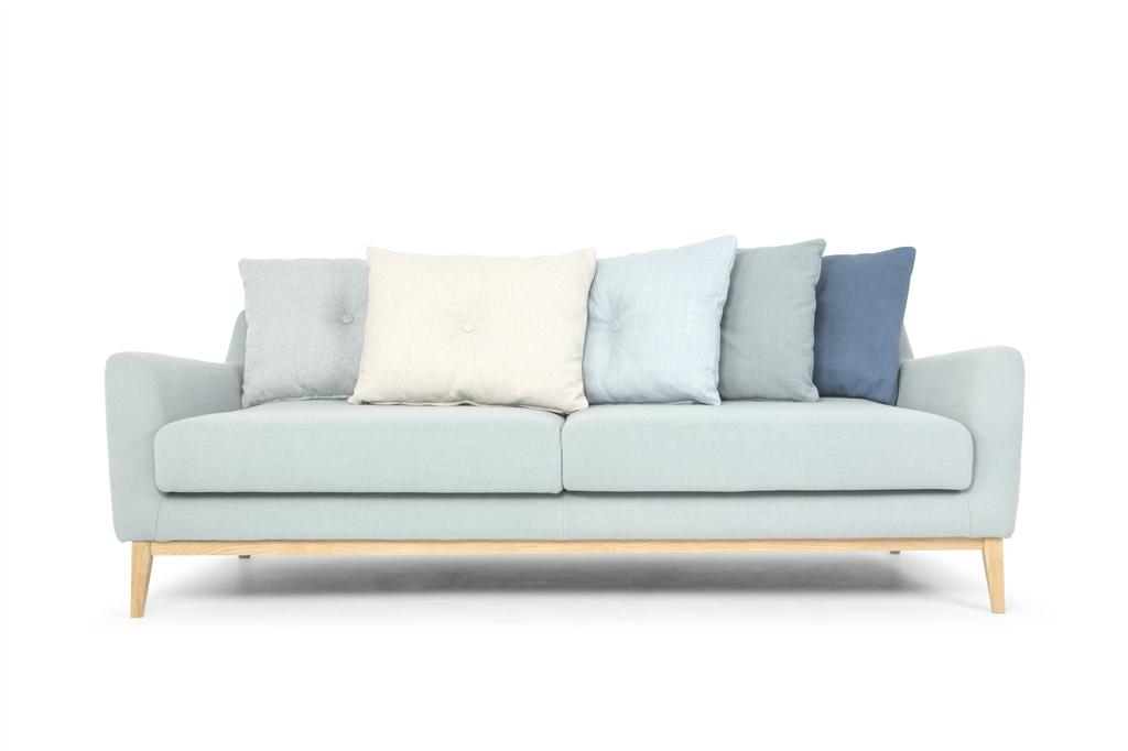 ARC 1134 - 3S, Ludo 520 Light Blue, Cushion in Diego Petrol - Duck Egg Blue, Flair Blue Grey -  Beige, Ludo Light Blue, Oak Legs, Front